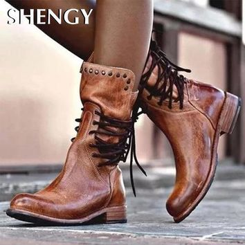 2019 Autumn Women Shoes Retro High Heel Ankle Boots Female Block Mid Heels Casual Booties Plus Size Office Party Shoes