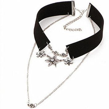N170 Choker Necklace Women PU Leather Rope Crystal Flower Double Chain Necklaces & Pendants Vintage Collar