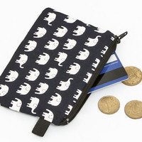 Coin purse, small zip pouch, small makeup bag, padded little change purse - white elephants in black/navy