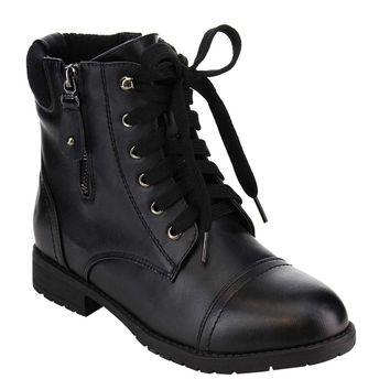 Lace up Military Style Combat Ankle Bootie Women's Boots Vegan Leather