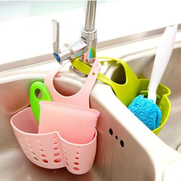 2017 BRIGHT COLOR Hanging Rack Drain Bag Basket Bath Storage Gadget Tools Sink Holder Plastic Storage Holders