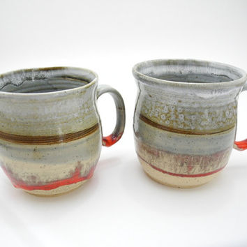Tea Mug Coffee Cup - Handmade Ceramics in Gray and Red