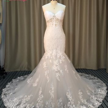 Dream Angel Sexy Illusion Sweetheart Lace Mermaid Wedding Dresses 2017 Appliques Beaded Trumpet China Vestido De Noiva Plus Size