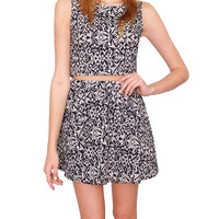 Make My Day Two Piece Dress Set - Black/Taupe