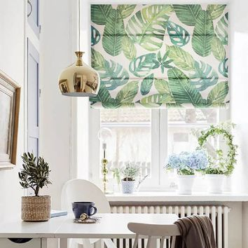 Quick Fix Washable Roman Window Shades Flat Fold, Big Green Leaves