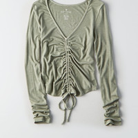 AEO Soft & Sexy Ribbed Cinch-Front Top, Olive