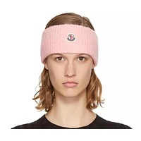 Moncler 2019 new faux-wool wool-blend hair band pink