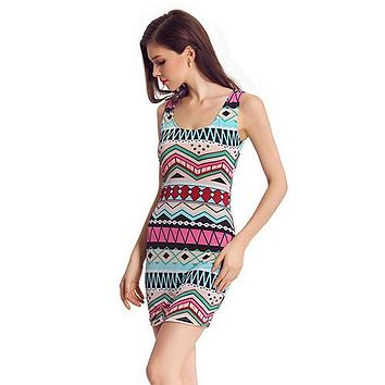 Women's Sleeveless Sexy Dress Clubwear Party Retro Aztec Printed Vest Tank Dress