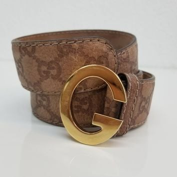 Gucci Brown Vintage Gold G Buckle Monogram Belt