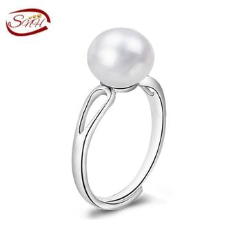 Pearl Jewelry,Natural Freshwater Pearl rings, real wedding pearl rings for women,925 silver ring as gift