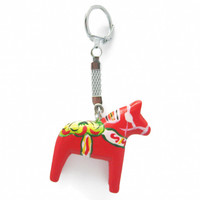 Red Dalarna Horse Key Ring
