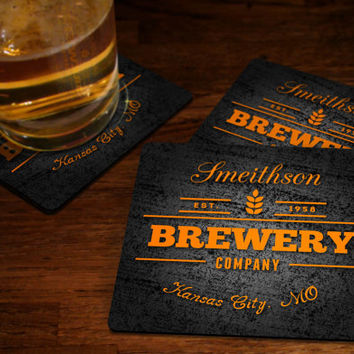 Personalized Brewery Coasters - Custom Beer Coaster Bar Coaster Set Custom Fabric Or Hard Cork Coaster