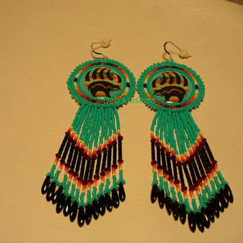 Native American Style rosette beaded Heart line Bear in Turquoise Green
