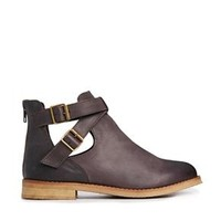 ASOS ALL I WANT Leather Cut Out Ankle Boots