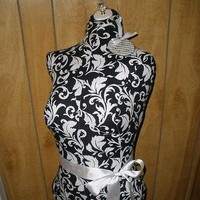 Boutique dress form bust craft shop wholesale Black flourish decor