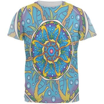 LMFCY8 Mandala Trippy Stained Glass Seahorse All Over Mens T Shirt