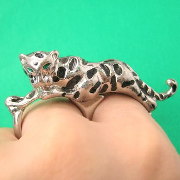 Tiger Leopard Double Duo Finger Animal Ring in Silver | DOTOLY