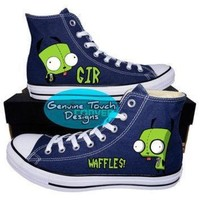 DCCK1IN custom converse invader zim gir shoes wraith waffles custom chucks painted shoe