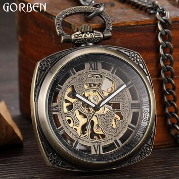 Retro Bronze Steampunk Squar Dial Mechanical Pocket Watch Mens Clock Carved Hollow Dial Skeleton FOB Chain Pendant Women Watches