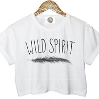 wild spirit FEATHER crop T SHIRT top free cute retro hipster swag dope yolo vtg punk handmade womens ladies funny tumblr cc style fashion