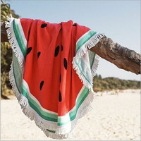 Watermelon Tapestry Beach Towel 100% Cotton Fruit Round Mandala Bohemia Printed Tassel Knitted 150*150cm