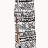 FOREVER 21 Elephant Safari Skirt Ivory/Black Large