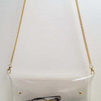 Big Transparent Clear Clutch Bag with string chain for shoulder,Transparent Clear Purse,Clear Bag,Bag,Clutch,Purse(Big Size):Gold accessory