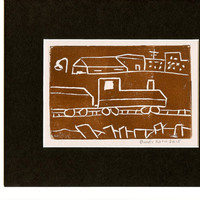 Train Time Original Block Print Brown Handcrafted by Detroit Artist Print Collectible one of a kind, Free Shipping