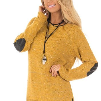 Mustard Sweater with Faux Leather Elbow Patches