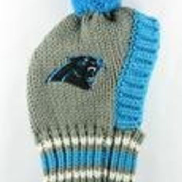 NFL Licensed Carolina Panthers Knit Pet Pom Beanie Hat (Small up to 20lbs)