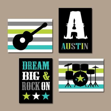 GUITAR Wall Art, Music Theme, Guitar Nursery Decor, Baby BOY Nursery Art, Big Boy Room Art, CANVAS or Prints Music Art, Rock N Roll Set of 4
