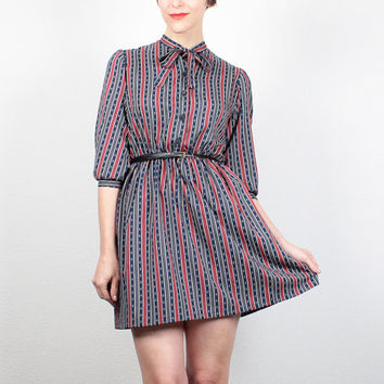 Vintage 70s Dress Micro Mini Dress 1970s Shirt Dress Secretary Dress Navy Blue Red Striped Shirtdress Preppy Work Dress XS Extra Small S