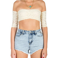 Laced Off The Shoulder Crop Top - Large