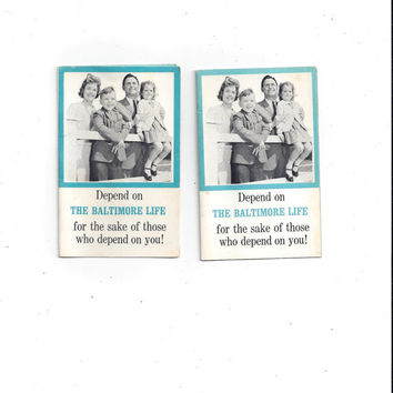 2 Packs Baltimore Life Insurance Needle Assortment, Made in Western Germany, Vintage Advertising, Home Sew Notion, Vintage 1960 Advertising