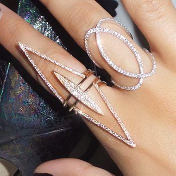 2018 NEW FULL finger ring for women 3pcs stacking long spike chevron V shape pave clear cubic zirconia fashion elegant jewelry