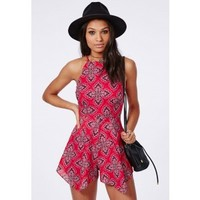 Paisley Print Hankerchief Hem Playsuit Red - Playsuit - Missguided