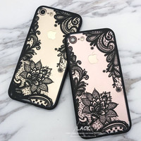 Luxury Lace Cartoon Flower Case For iphone 7 Case For iphone7 6 6S PLus Case Sexy Paisley Mandala Henna Floral Cover Phone Cases -0315