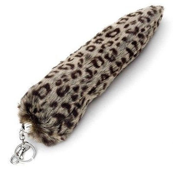 "LEOPARD PRINT FAUX TIGER TAIL FOX TAIL FOXTAIL KEYCHAIN 12"" BELT CLIP-NEW!"