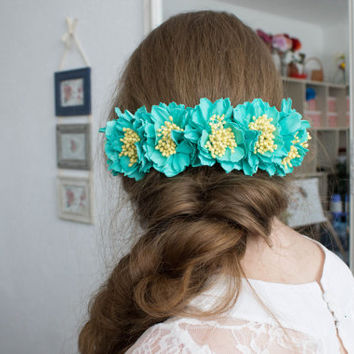 Wedding Hair Accessory ,  Blue Yellow Wedding Hair Flowers,  Wedding Hair Comb, Bridal Hair Accessories, Bridesmaids Hair, Wedding Headpiece