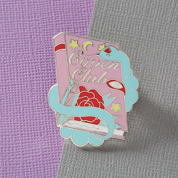 Coven Club Enamel Pin in Pastel // Halloween Pin /Badge/ Lapel Pin // Creepy Cute / Witch / Book / Spell Book