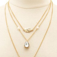 Layered Feather & Owl Charm Necklace by Charlotte Russe - Gold