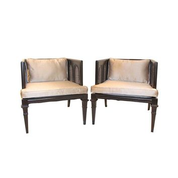 Pre-owned Hollywood Regency Walnut & Cane Chairs - A Pair