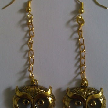 Gold Owl Eye Charm Earrings by allthingswildandfree on Etsy