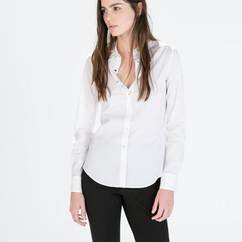 White Metal Button Long-Sleeve Collared Shirt