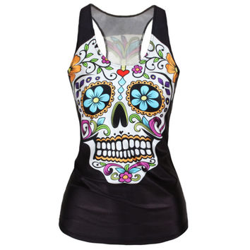 2016 New Sexy Fashion Punk Girl Slim Tank Tops Harajuku Women 3D Tops Vest Cool Woman Vests Skull Print Camisole