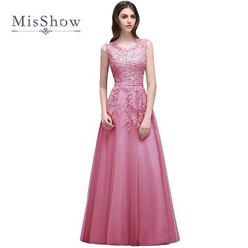 MisShow New Pink Lace Beaded Bridesmaid Dresses 2017 Long Floor length Prom Party Gown Dress For Wedding Party Robe De Soiree