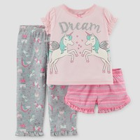 Toddler Girls' 3pc Short Sleeve Dream Unicorn Pajama Set - Just One You™ Made by Carter's® Pink
