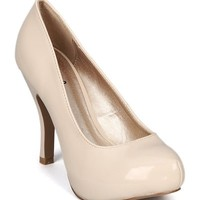 Qupid Trench-01 Patent Almond Toe Hidden Platform Pump - Nude (Size: 7.5)