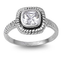 925 Sterling Silver CZ Braided Square Ring 8MM