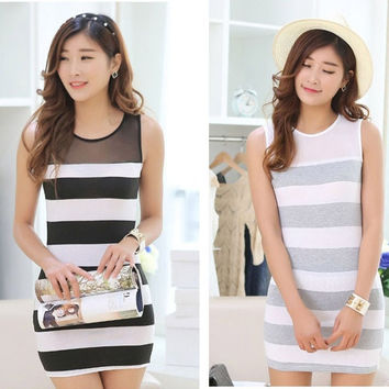 New Summer Korean women Slim Lace Thin Stripe Vest Package hip Dress all size gray black
